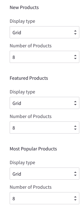 Theme editor configure products on homepage
